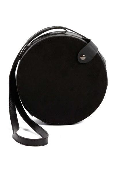 MIZALLE - غطاء منسدل ، حقيبة كتف دائرية (أسود) (1)