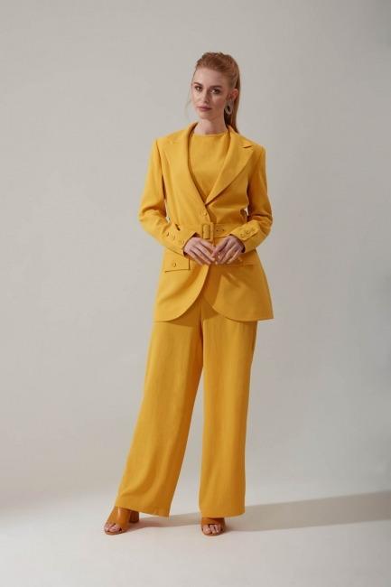 Mizalle - Bol Paçalı Sarı Pantolon