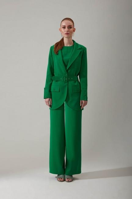 Mizalle - Bol Paçalı Yeşil Pantolon