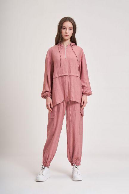 Mizalle - Aerobin Fermuarlı Sweatshirt (Gül Kurusu)