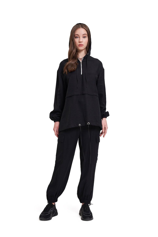 Aerobin Fermuarlı Siyah Sweatshirt