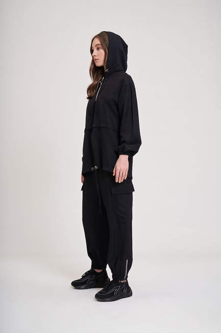 Aerobin Fermuarlı Sweatshirt (Siyah) - Thumbnail