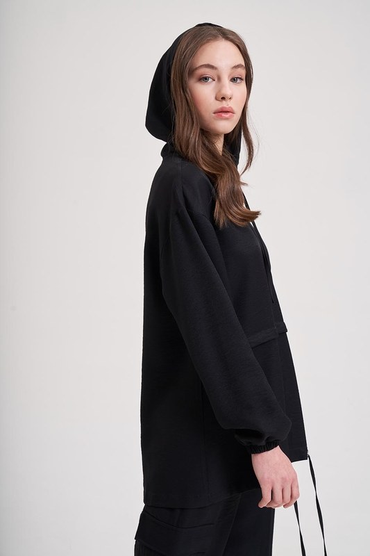 Aerobin Fermuarlı Sweatshirt (Siyah)