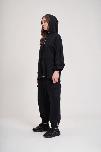 MIZALLE YOUTH - Aerobin Fermuarlı Sweatshirt (Siyah) (1)