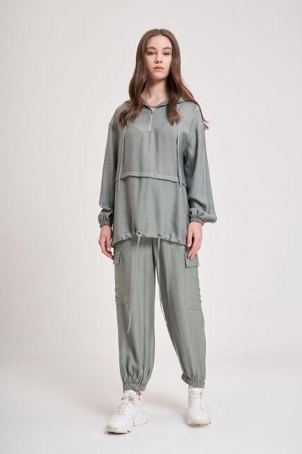 Mizalle - Aerobin Fermuarlı Sweatshirt (Su Yeşili)