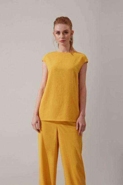 Mizalle - Kolsuz Sarı Bluz