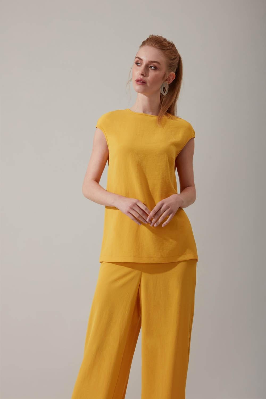 Kolsuz Sarı Bluz