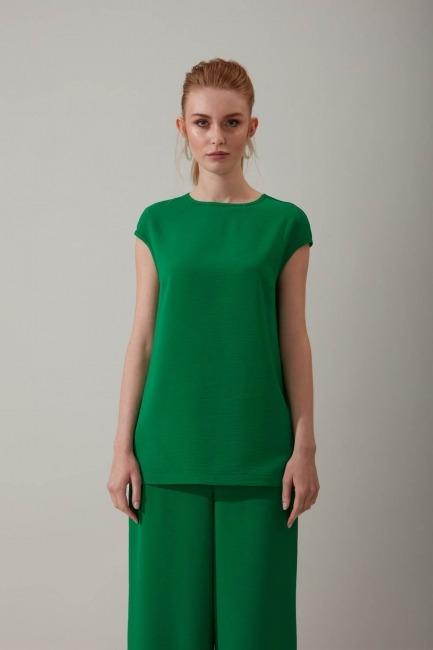 Mizalle - Kolsuz Yeşil Bluz
