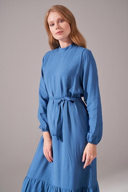 Aerobin Kuşaklı Uzun Elbise (İndigo) - Thumbnail