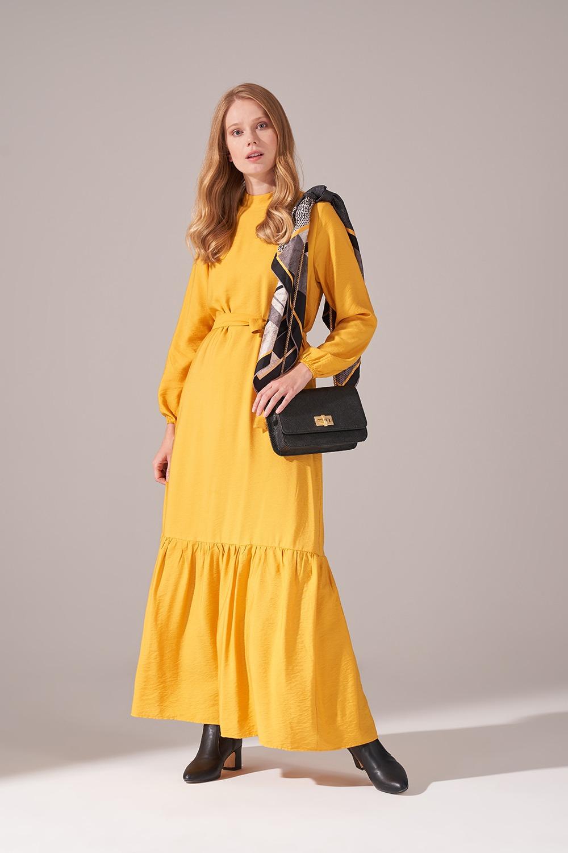 Aerobin Kuşaklı Sarı Uzun Elbise