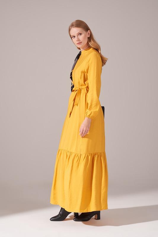 Aerobin Kuşaklı Uzun Elbise (Sarı)