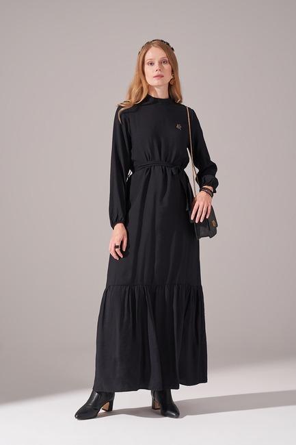 Mizalle - Aerobin Kuşaklı Uzun Elbise (Siyah)