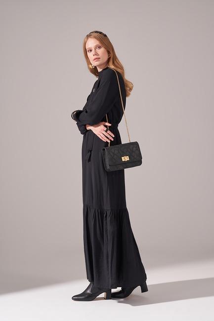 Aerobin Kuşaklı Uzun Elbise (Siyah) - Thumbnail