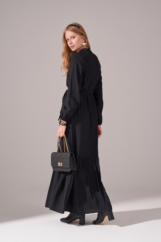Aerobin Kuşaklı Uzun Elbise (Siyah)