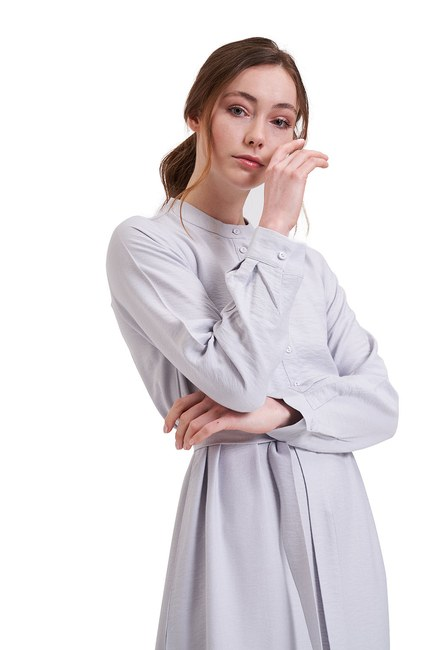 MIZALLE - Aerobin Önden Düğmeli Uzun Elbise (Gri) (1)
