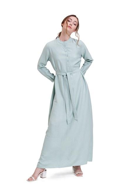 Mizalle - Aerobin Önden Düğmeli Uzun Elbise (Mint) (1)