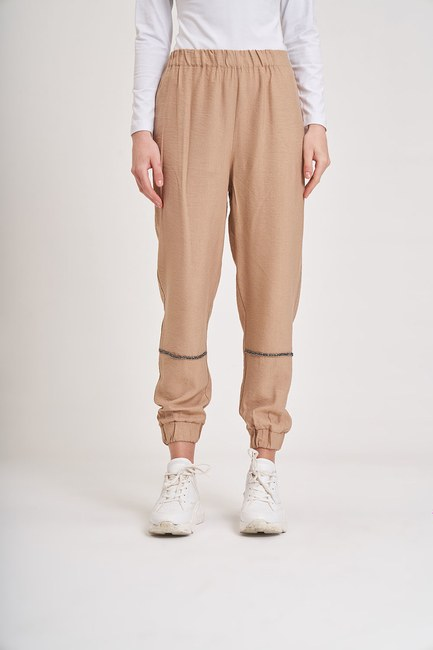 MIZALLE YOUTH - Aerobin Stone Striped Trousers (Camel) (1)