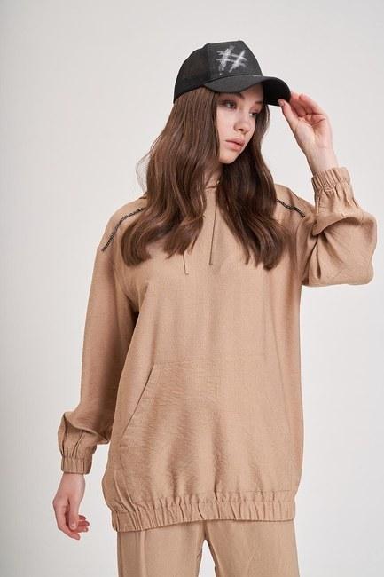 MIZALLE YOUTH - Aerobin Striped Sweatshirt (Camel) (1)