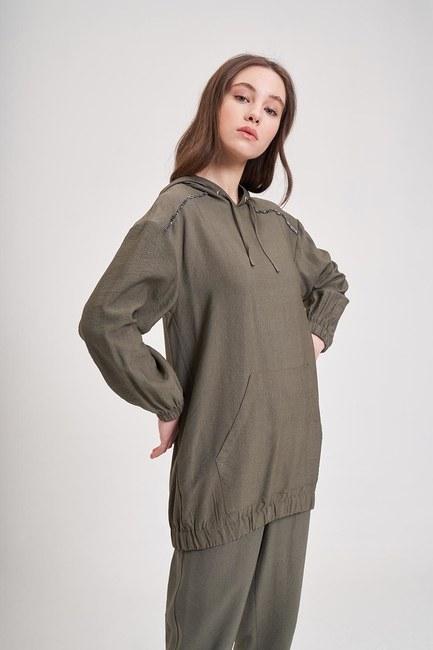 MIZALLE YOUTH - Aerobin Striped Sweatshirt (Khaki) (1)