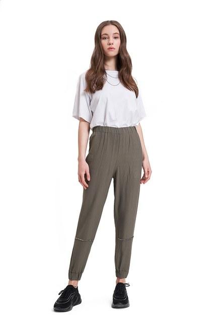 Mizalle - Aerobin Taş Şeritli Pantolon (Haki)