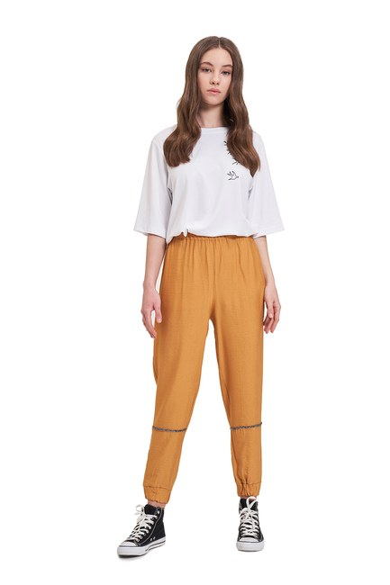 Mizalle - Aerobin Taş Şeritli Pantolon (Safran)
