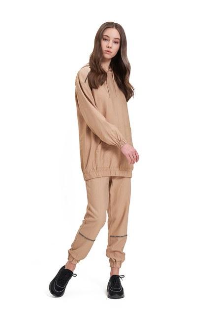 Mizalle - Aerobin Taş Şeritli Camel Sweatshirt