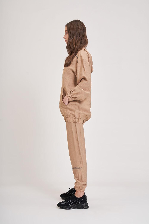 Aerobin Taş Şeritli Camel Sweatshirt