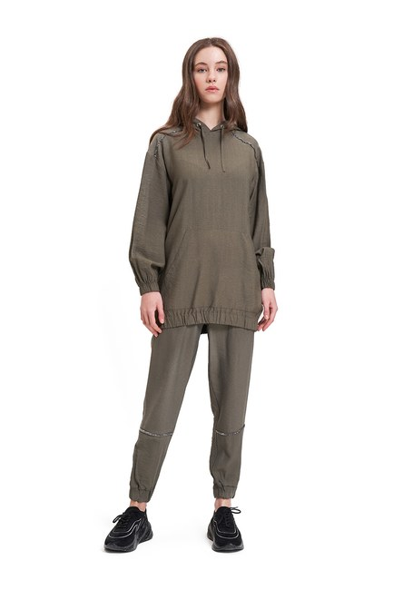 Mizalle - Aerobin Taş Şeritli Haki Sweatshirt