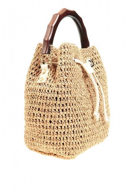 حقيبة يد الحياكة مع مقبض الخشب (البيج) - Thumbnail
