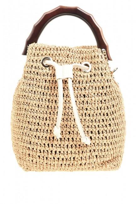 MIZALLE - Wood Handle Knitting Hand Bag (Beige) (1)