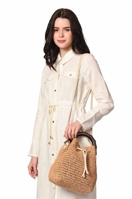 MIZALLE Wood Handle Knitting Hand Bag (Beige)