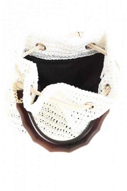 حقيبة يد متماسكة بمقبض خشبي (أبيض) - Thumbnail