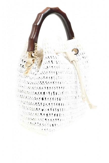 Wood Handle Knitting Hand Bag (White) - Thumbnail