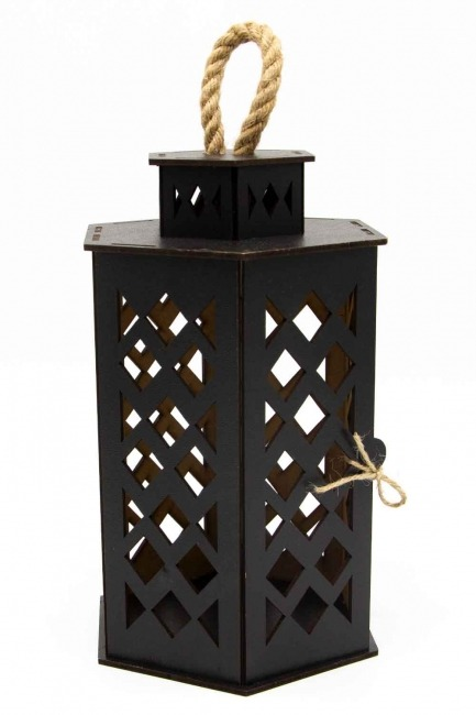 MIZALLE HOME Hexagonal Shape Wooden Lantern (Black)