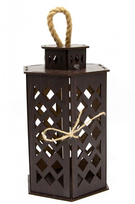 MIZALLE HOME Hexagonal Shape Wooden Lantern (Wenge)
