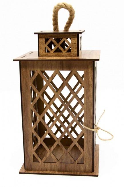 فانوس خشبي مربع (كريمي) - Thumbnail