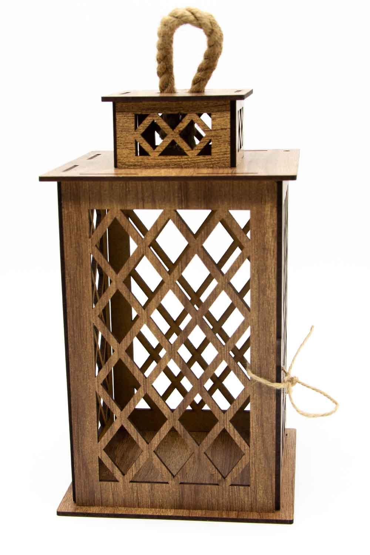 MIZALLE Square Shape Wooden Lantern (Cream) (1)