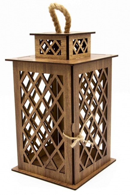 Square Shape Wooden Lantern (Cream) - Thumbnail