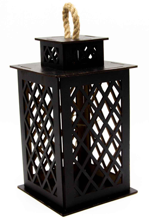 MIZALLE Square Shape Wooden Lantern (Black) (1)