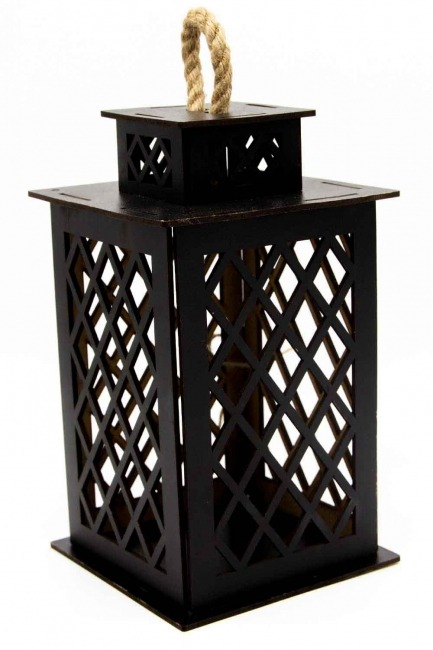 MIZALLE - Square Shape Wooden Lantern (Black) (1)
