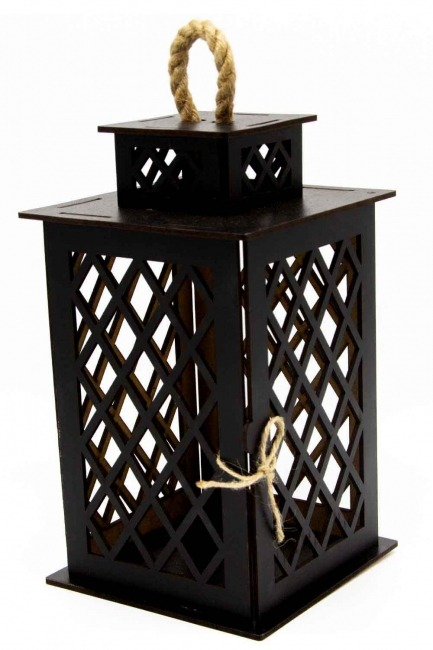 MIZALLE HOME Square Shape Wooden Lantern (Black)