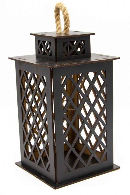 Square Shape Wooden Lantern (Wenge) - Thumbnail