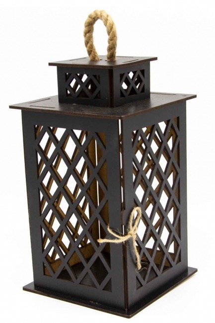 MIZALLE HOME - Square Shape Wooden Lantern (Wenge) (1)