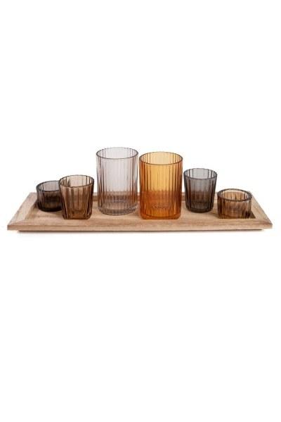 حامل شموع متعدد الاستخدامات ، 7 اتجاه ، مع حامل خشبي (40 × 14 × 11) - Thumbnail