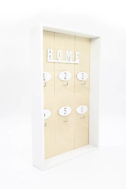 MIZALLE HOME - Ahşap Tasarım Anahtarlık (Krem) (1)