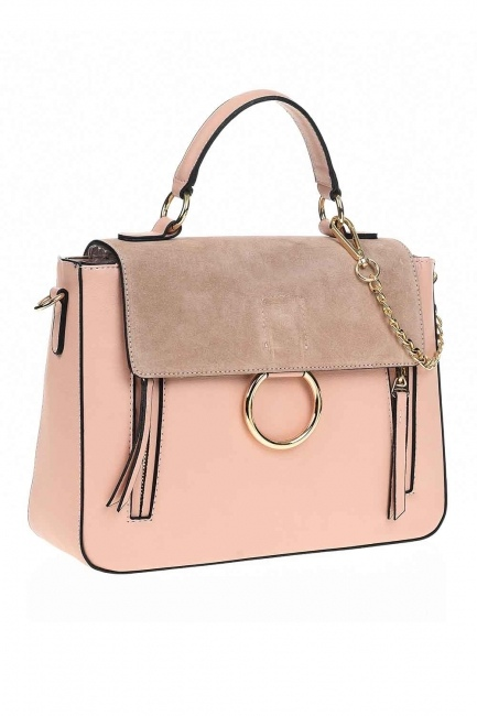 MIZALLE - Accessorized Handle Bag (Powder) (1)