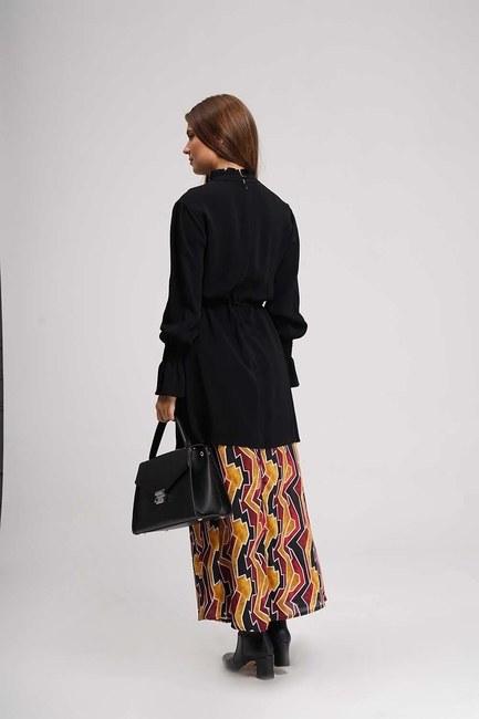 Altı Desenli Uzun Elbise (Siyah) - Thumbnail