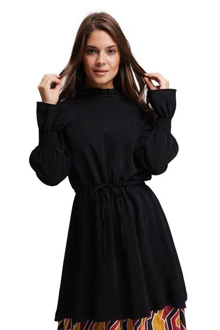 MIZALLE - Altı Desenli Uzun Elbise (Siyah) (1)