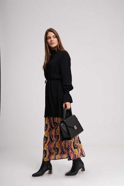 Bottom Patterned Long Dress (Black) - Thumbnail