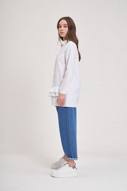 MIZALLE YOUTH - Altı Fırfırlı Poplin Gömlek (Beyaz) (1)